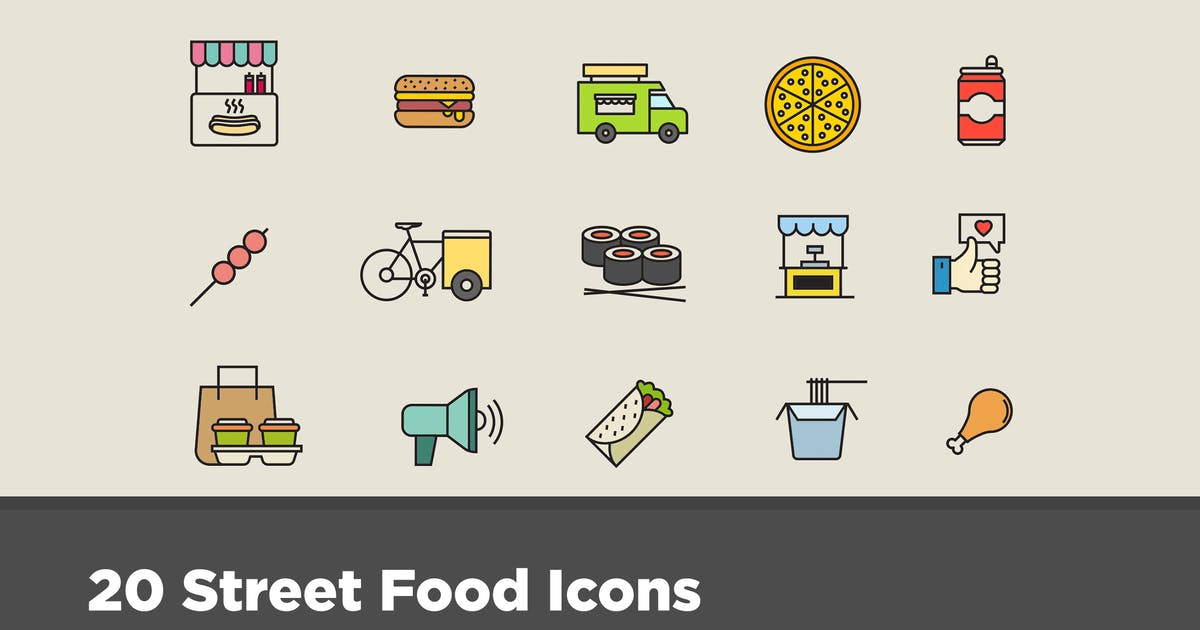 Download 20 Street Food Icons by creativevip