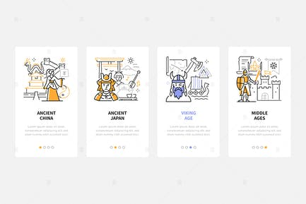 History Periods - Line Design Style Web Banners