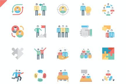 Conjunto Simple de Íconos planos de trabajo en equipo