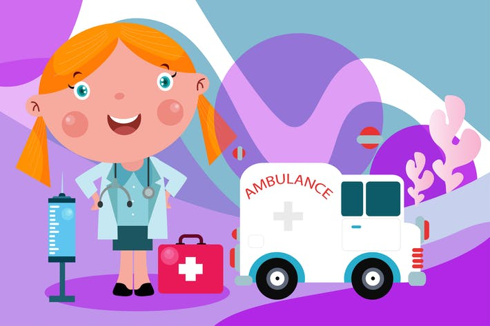 Thumbnail for Little Doctor - Vector Kids Illustration