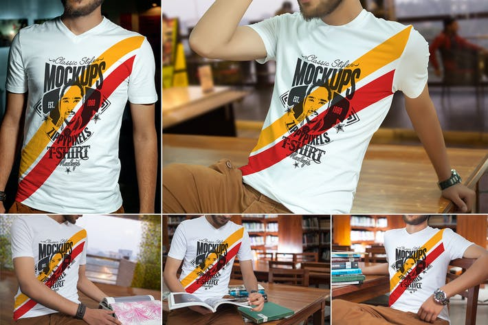 Thumbnail for V-Neck T-Shirt Mockups