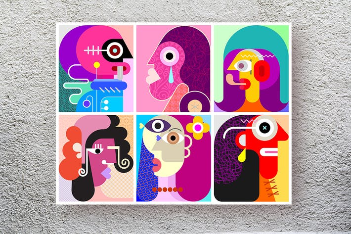 Six Faces layered vector modern art illustration