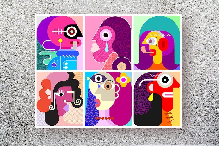 Шесть Лица слоистых вектор современного искусства иллюстрации