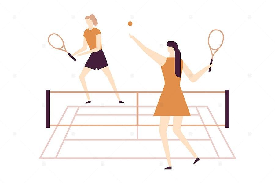 Girls playing tennis - flat design illustration