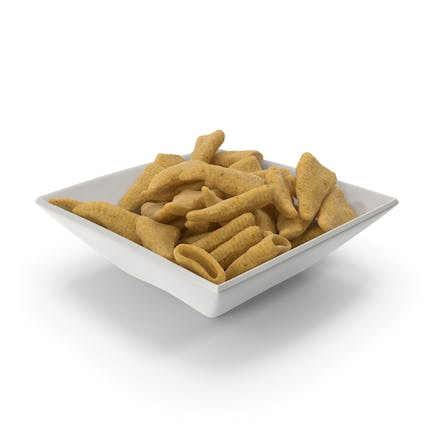 Square Bowl with Cone Shaped Corn Snacks