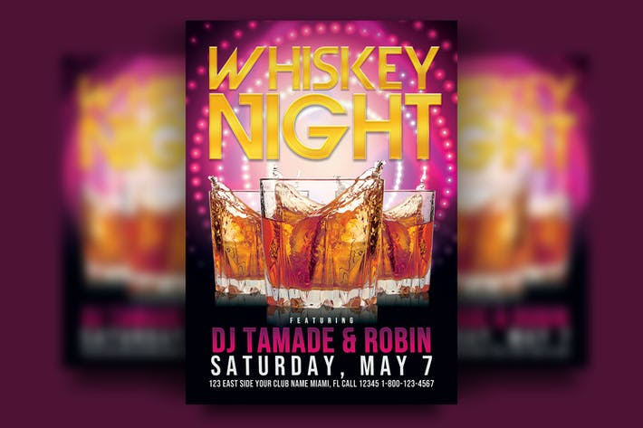Thumbnail for Whiskey Night Party Flyer Template