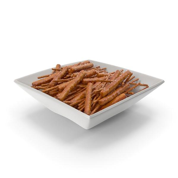 Square Bowl with Mixed Salty Mini Pretzel Sticks