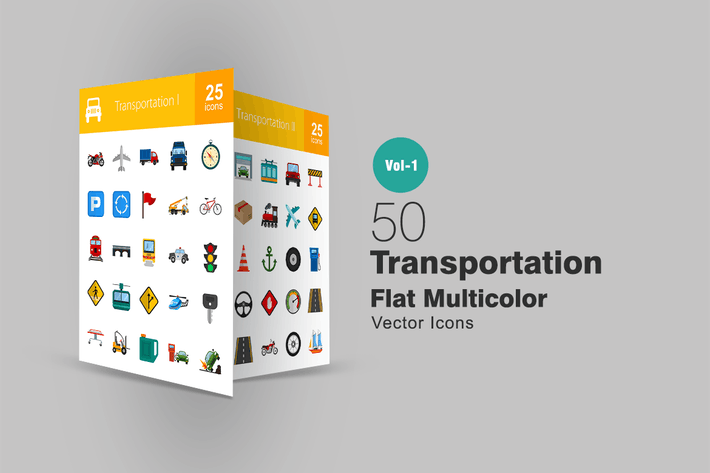 Thumbnail for 50 Transportation Flat Multicolor Icons