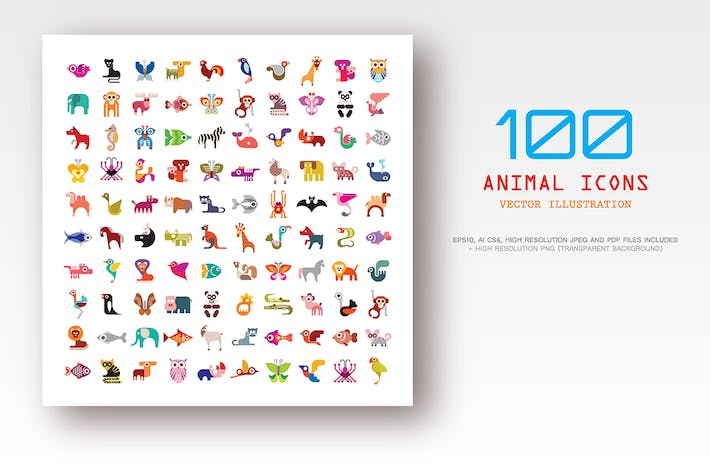 Thumbnail for 100 Animal vector icons