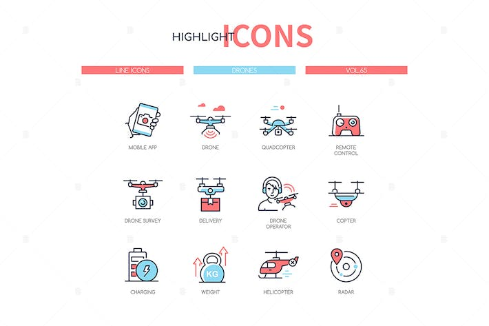Thumbnail for Drones - modern line design style icons set