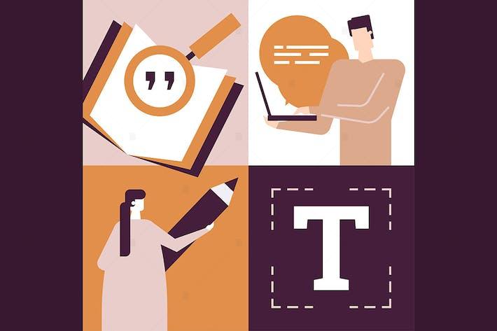 Thumbnail for Copywriting-Konzept - flache Designillustration