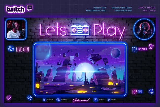Neon Gaming Twitch Overlay