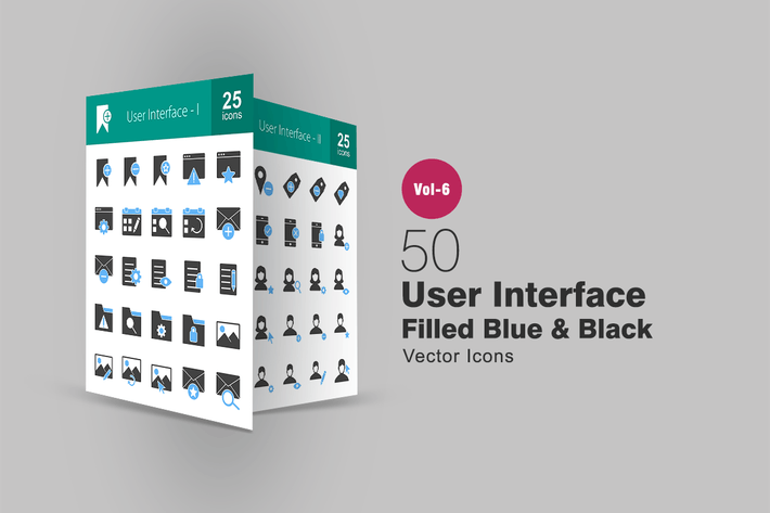 Thumbnail for 50 User Interface Blue & Black Icons