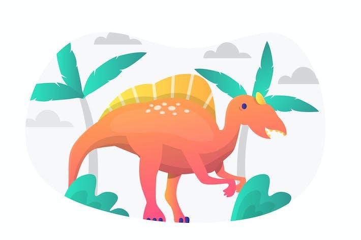 Плоская иллюстрация спинозавра