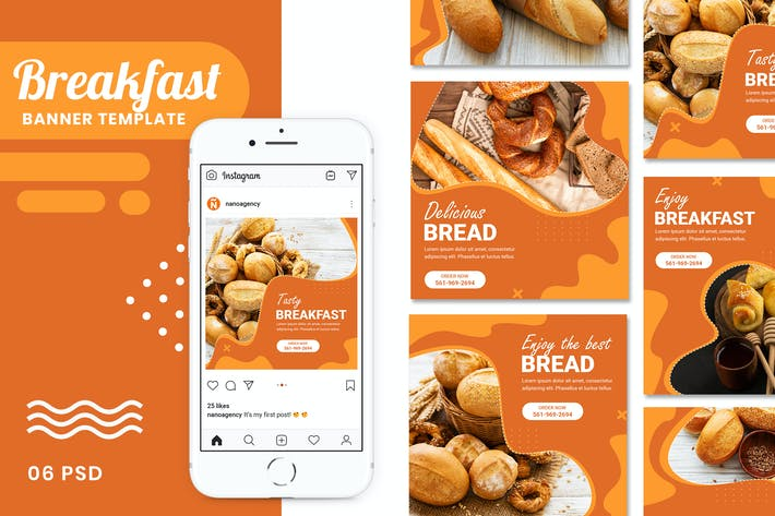 Thumbnail for Breakfast Food Banner Templates