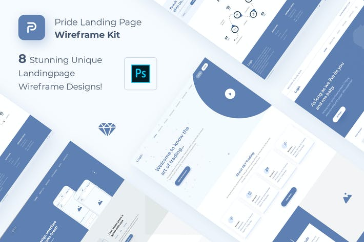 Thumbnail for Pride Landing Page Wireframe Kit