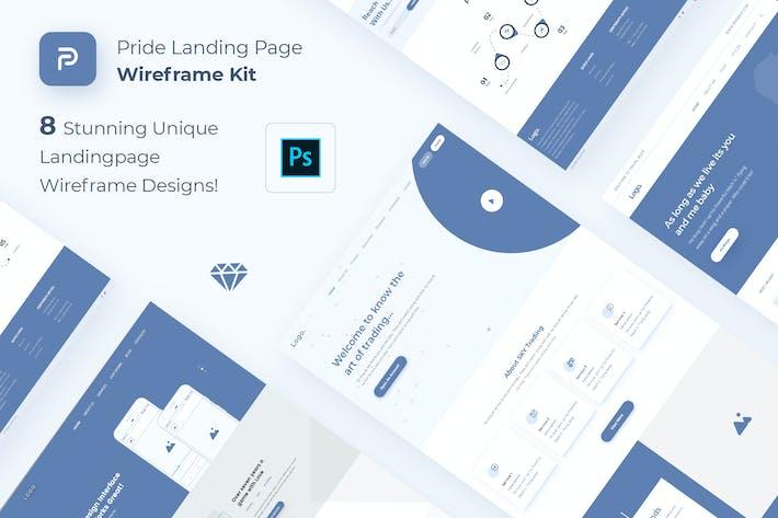 Thumbnail for Pride Landing Page Wireframe Kit