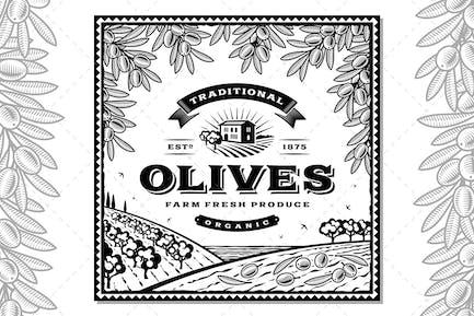 Vintage Olives Label Black And White
