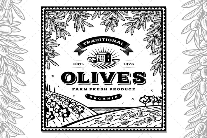 Thumbnail for Vintage Olives Label Black And White