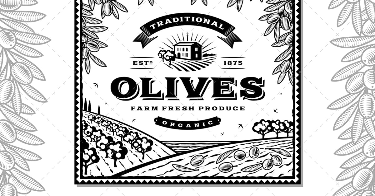 Download Vintage Olives Label Black And White by iatsun