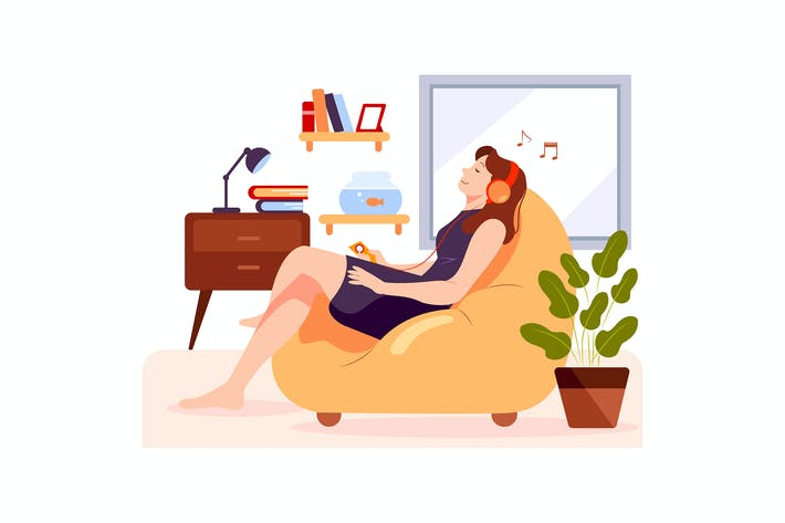 Thumbnail for The girl is relaxing on the couch