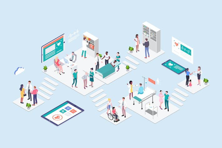 Thumbnail for Hospital Concept Isometric Illustration