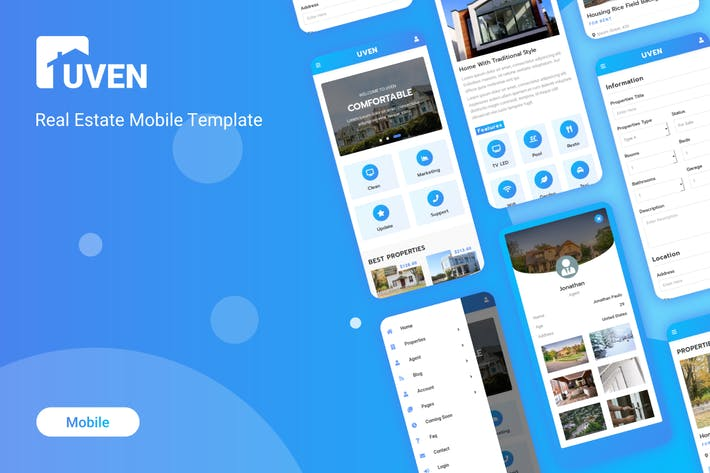 Thumbnail for Uven - Real Estate Mobile Template
