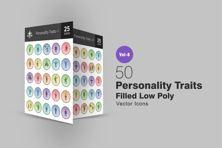 Thumbnail for 50 Personality Traits Filled Low Poly Icons