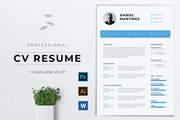 Cover Image For Professional CV Resume Template Vol. 01
