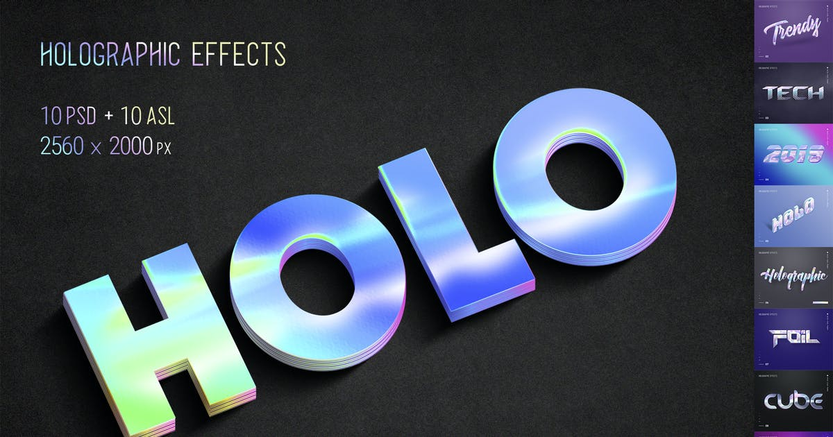 Holographic Text - 10 PSD by Sko4