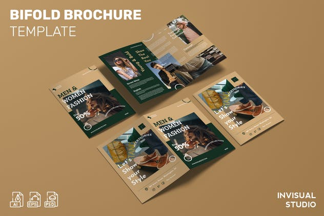 Men & Woman Fashion - Bifold Brochure Template