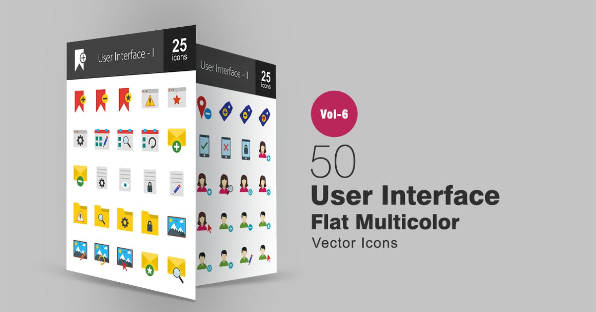 50 User Interface Flat Multicolor Icons by IconBunny