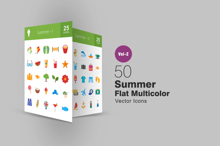 Thumbnail for 50 Summer Flat Multicolor Icons