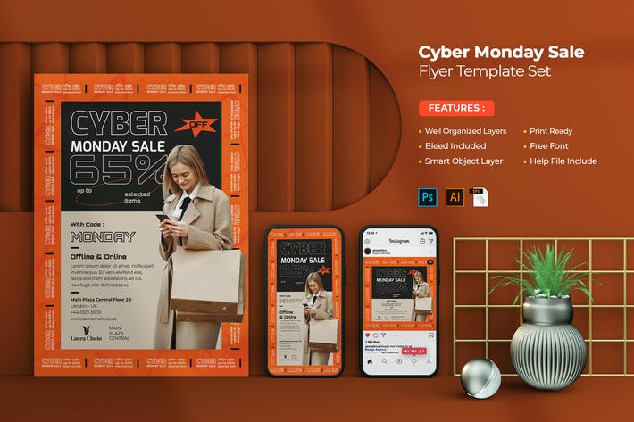 Cyber Monday Sale Flyer Set