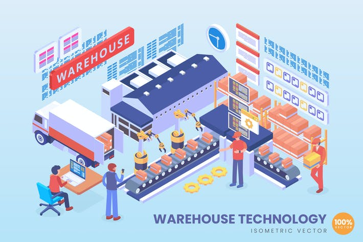 Isometric Warehouse Technology Vector Concept