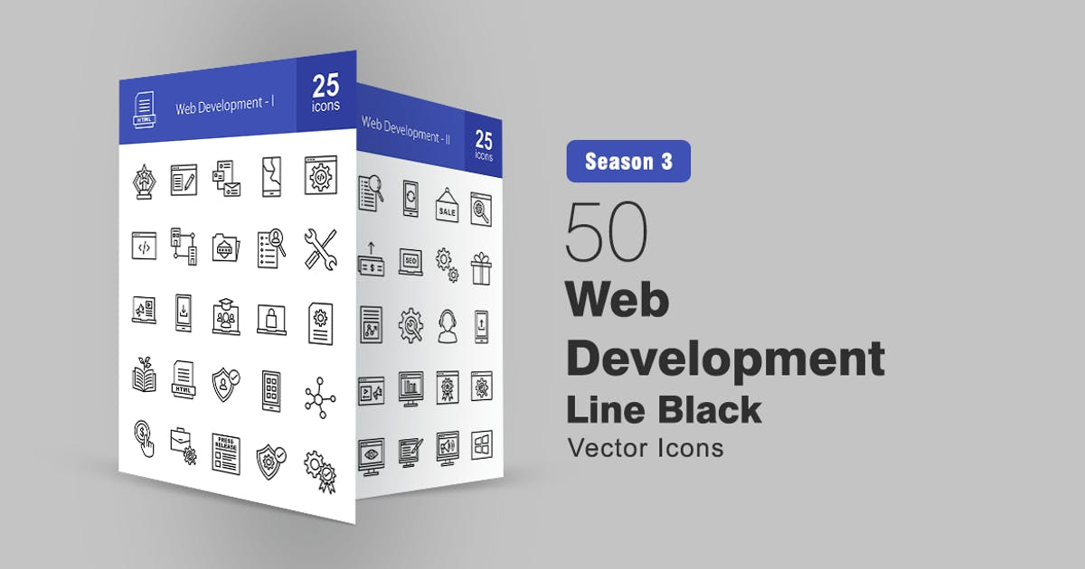 Download 50 Web Development Line Icons by IconBunny