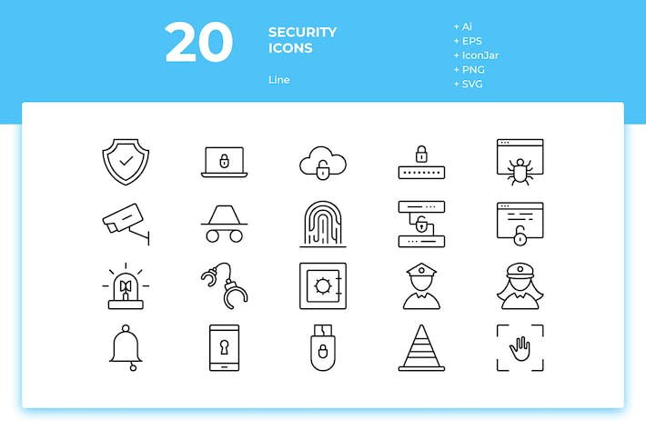 Thumbnail for 20 Security Icons (Line)