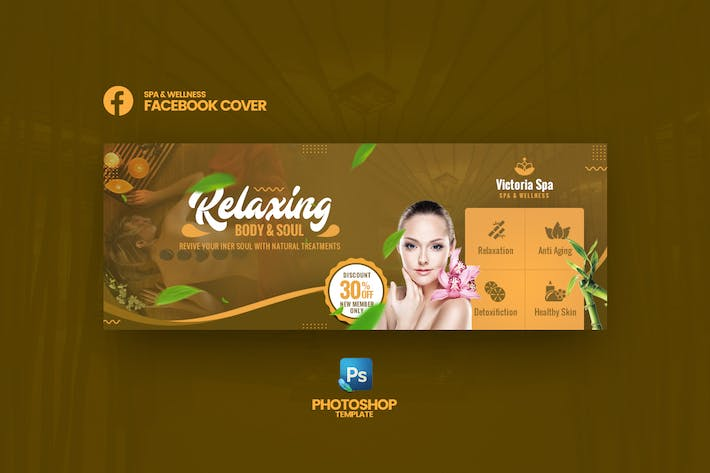 Thumbnail for Victoria - Spa & Wellness Facebook Cover Template