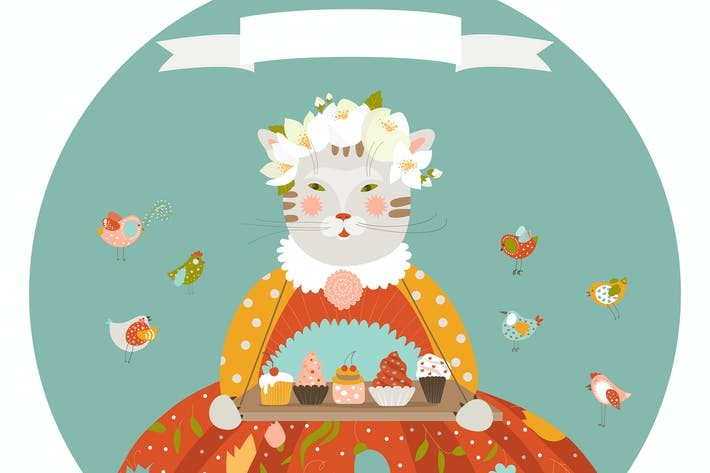 Thumbnail for Cute cat with cupcakes wearing dress
