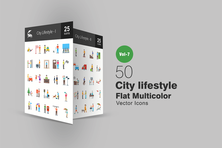 Cover Image For 50 City Lifestyle Flat Multicolor Icons
