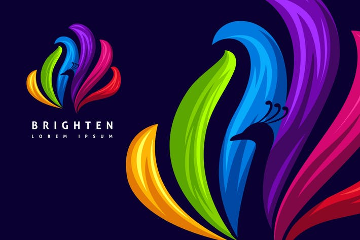 Thumbnail for Schöne bunte Negative Space Peacock Logo