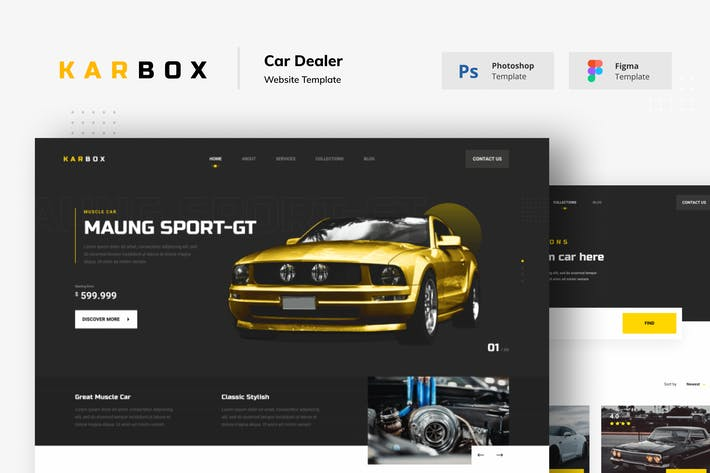 Thumbnail for Karbox Car Dealer Website Figma PSD Template