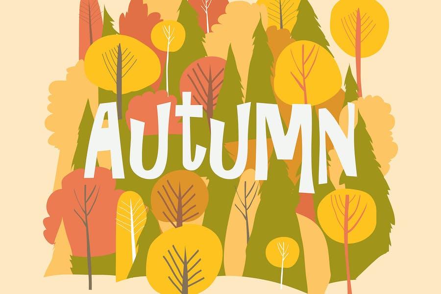 Vector autumn forest. Fall background. Hello autum