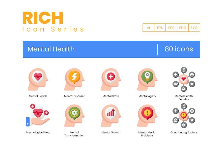 80 Icons für psychische Gesundheit - Rich Series