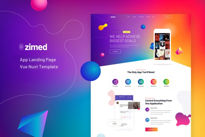 Thumbnail for Zimed - Vue Nuxt App Landing Page Template