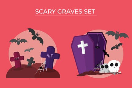 Scary Grave Set - Vector Illustration