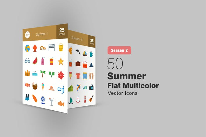 Thumbnail for 50 Summer Flat Multicolor Icons Season II