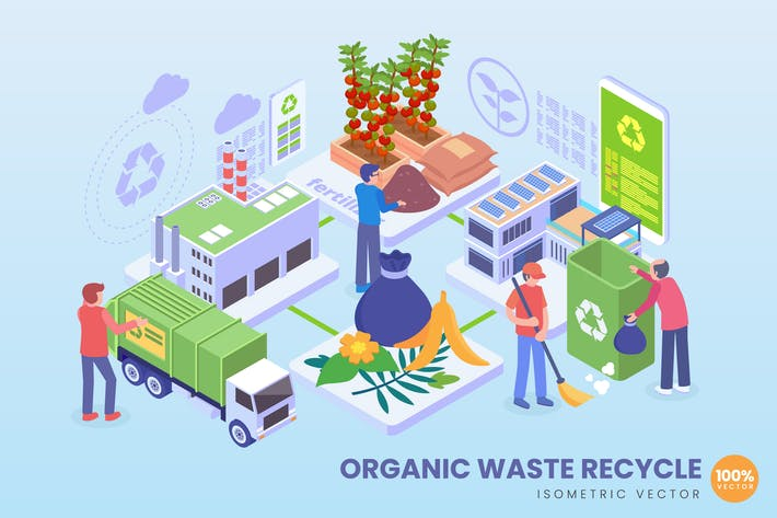 Isometric Organic Waste Recycle Concept