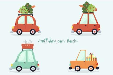 Holiday Cars Flat Design Illustration Pack