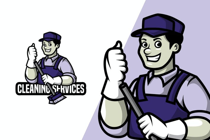 Thumbnail for Cleaning Service - Mascot Logo Template